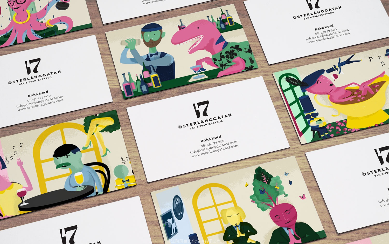 Brand identity and business cards for Stockholm restaurant Österlånggatan 17 by Lobby Design